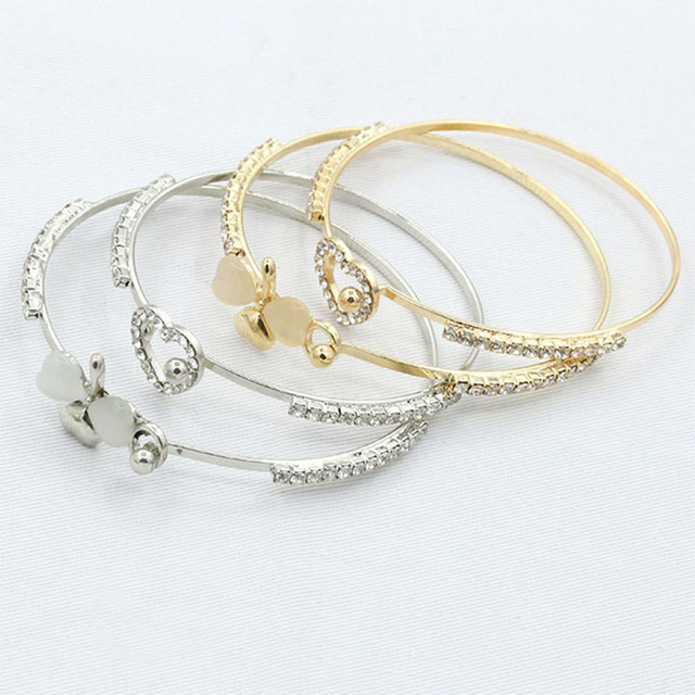 Clover Heart Cuff Bracelets Bangle Open Gold Silver Plated Adjustable CZ Crystal Love Charm Women Rhinestone Opal Jewelry