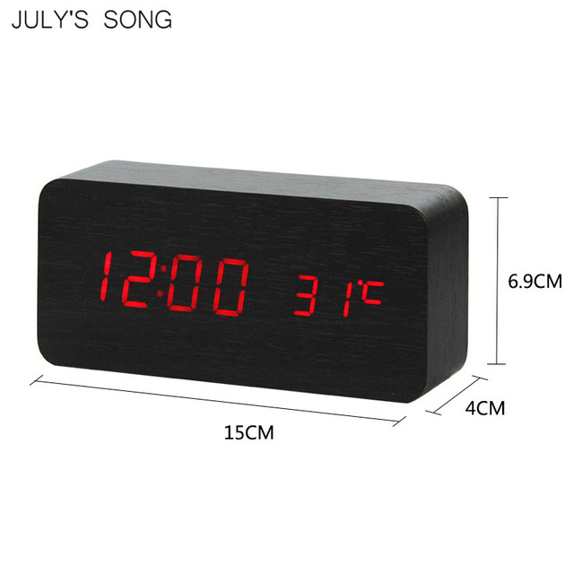 JULY'S SONG LED Clock Wooden Digital Alarm Clock Night Light LED Display Temperature Table Clockes Desk Electronic Despertador