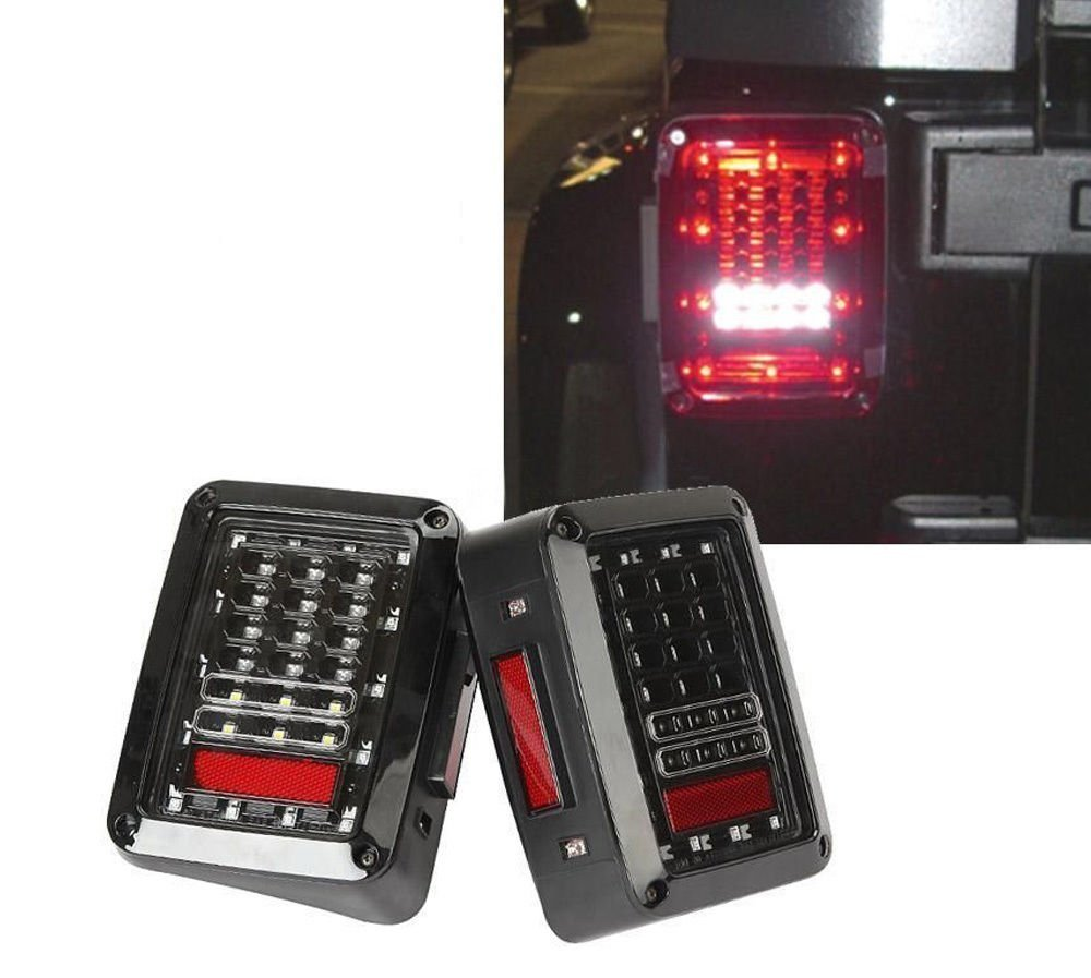 ФОТО 1 Pair LED Reverse Brake Tail Lights With European Standard Plugs For 07-15 JEEP JK WRANGLER Car Light Replacement LIght