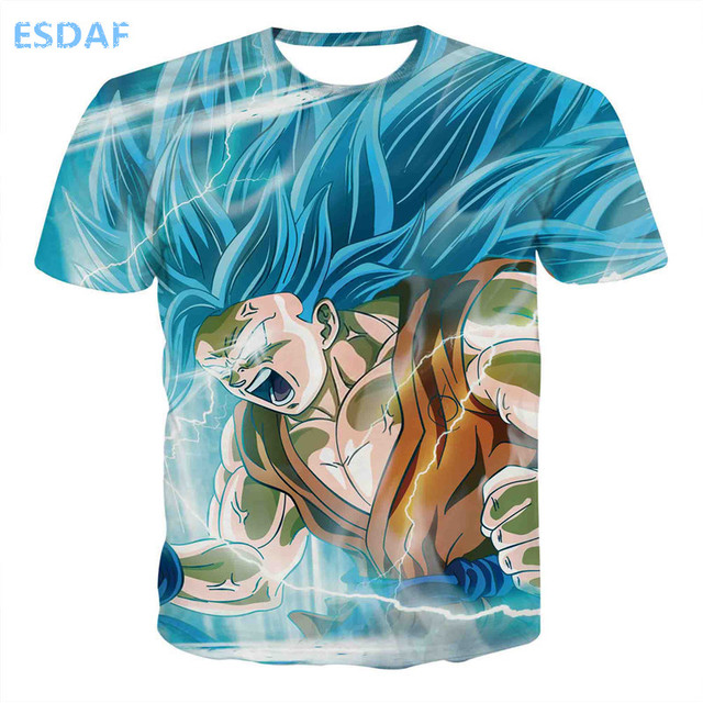 ESDAF Hot Summer The New Male Japan Anime Dragon Ball Short Sleeves T Shirt Brand Cotton Cartoon Apparel Tops Large Size S-XXXL