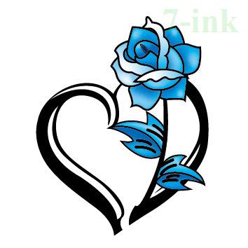 Cc 33 6x6cm Color Little Flower Tattoos Blue Rose Heart Temporary