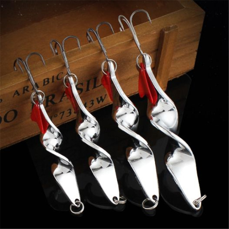 1PCS 10g 14g 21g 28g Rotating Metal Spinner Spoon Fishing Lure Hard Baits For Trout Pike Pesca Peche Treble Hook Tackle 10pcs 21g 14g 10g 7g 5g metal fishing lure fishing spoon silver and gold colors free shipping