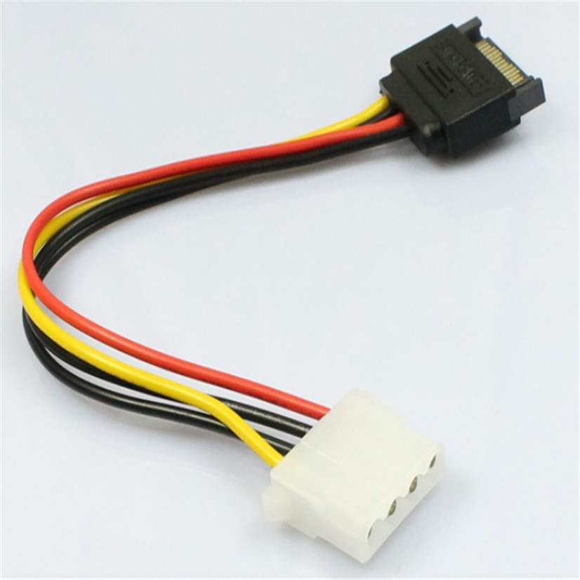 Factory Price MOSUNX Hot Selling 15 Pin SATA Male to 4 Pin Molex Female IDE HDD Power Hard Drive Cable Drop Shipping