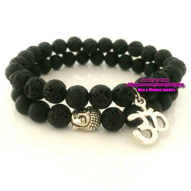 10pcs Whole Buddha Yoga Mala Ohm Charms Bracelet With Matte Lava Stone Beaded Stretchy