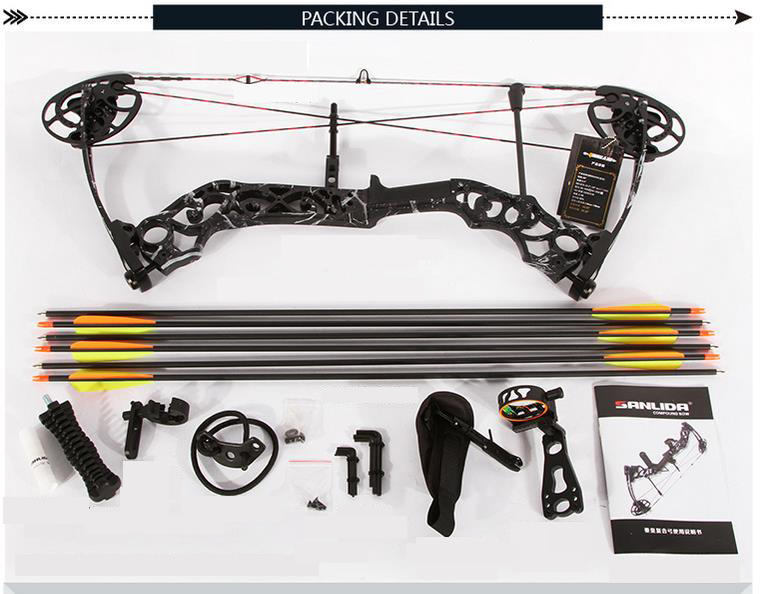 SANLIDA QH Aluminium Alloy Riser Compound Bow and Arrow Set For Hunting piaoyu black warrior compound bow set hunting camouflage and black triangle hunting arrow set and archery set