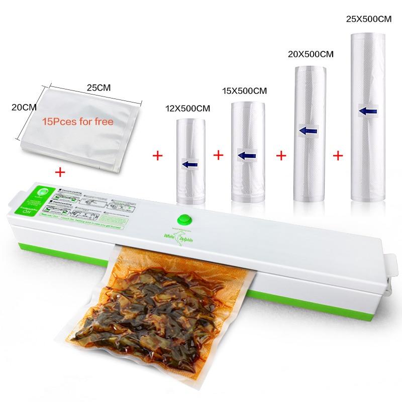 Portable Vacuum Sealer CE Electric Film Food Sealer Vacuum Packer 100W Keep Fresh 4 rolls Sealing