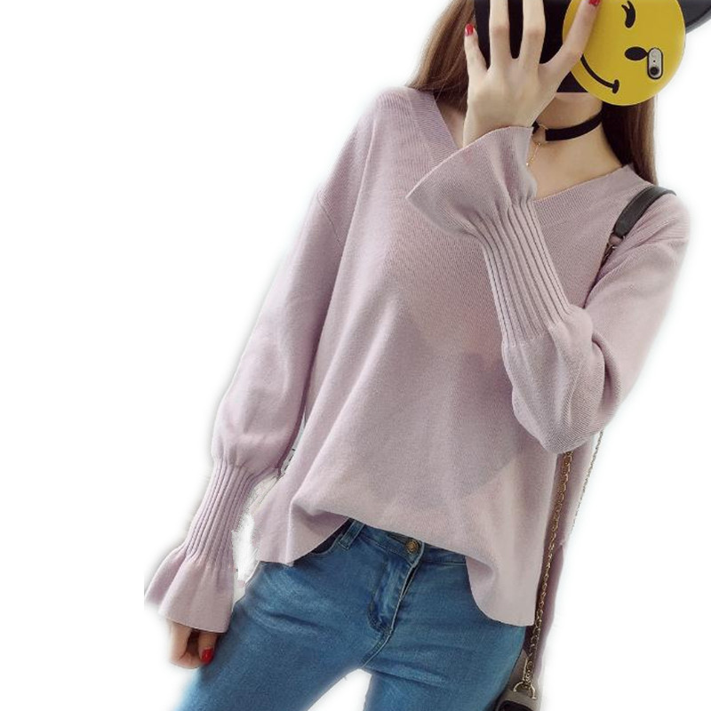 2018 Fashion Flare Sleeves Winter&Autumn Cotton Women Knitting Shirt Female Sexy V-Neck Loose Pullovers Warm Solid Sweater CQ699