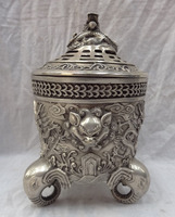 bi002209 Tibet Silver Dragon Lion Head Statue Bronze Box Elephant Incense Burner Censer