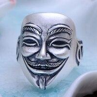 925 Sterling Silver Rings For Men Frosted V For Vendetta Mask Man Biker Ring Skull Ghost