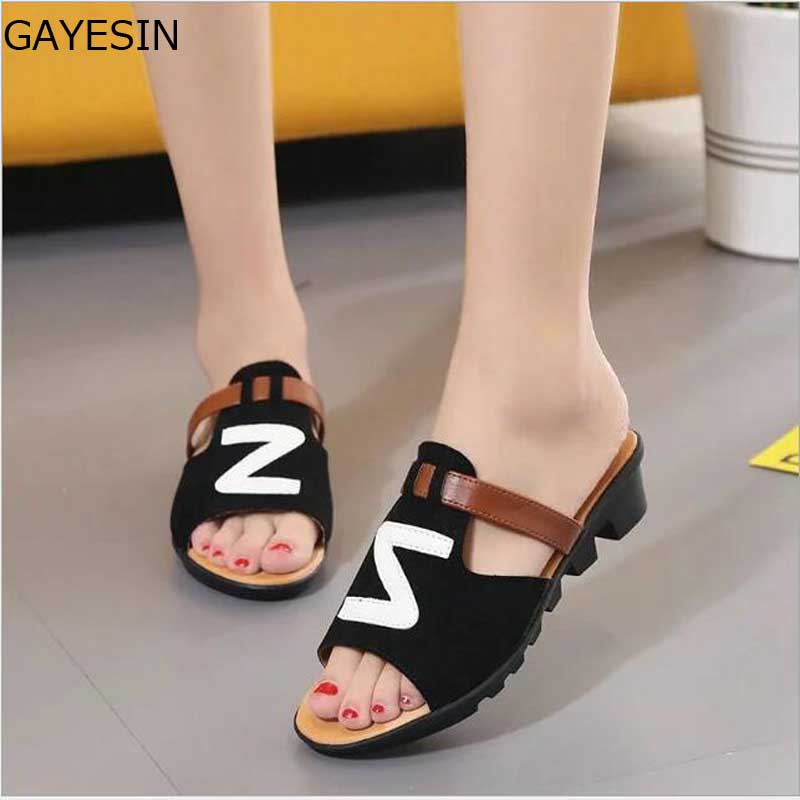 2018 Summer Women Sandals Open Toe Flip Flops Womens Sandles Thick Heel Women Shoes Korean Style Gladiator Shoes zapatos mujer