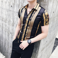 Luxury Gold Black Shirt 2018 Summer Short Sleeve Fashion Designer Party Club Prom Party Shirt Stylish Gold Slim Shirts For Men
