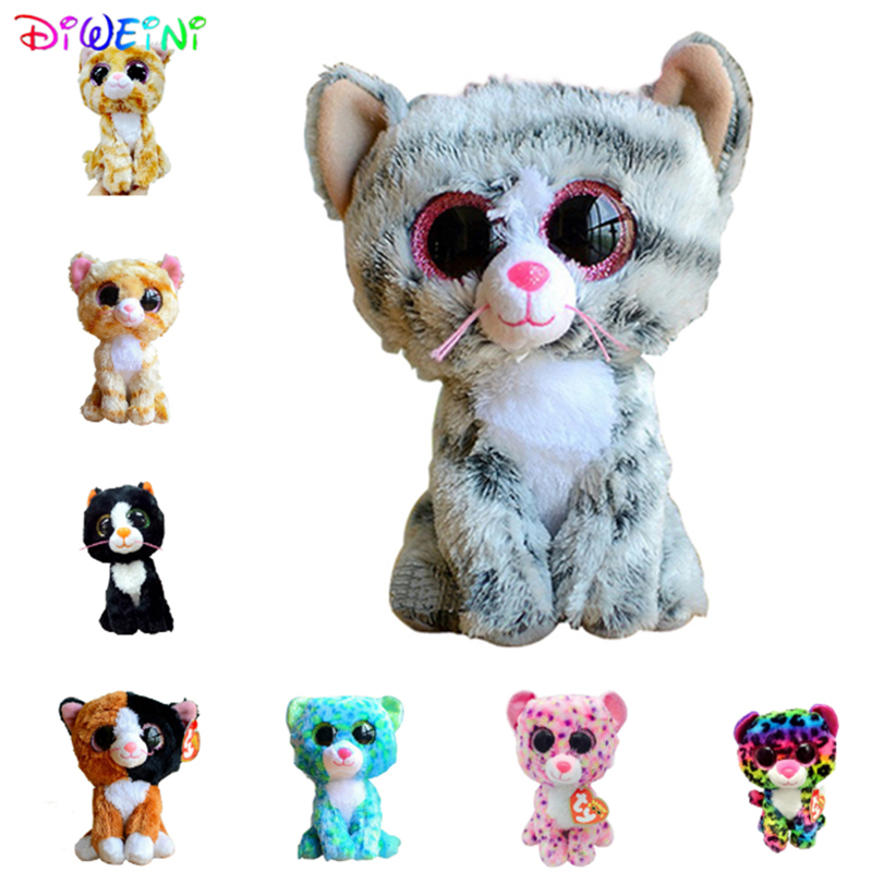 Ty Beanie Boos Gray Cat Plush Toy Doll Baby Girl Birthday Gift Stuffed & Plush Animals 15cm Big Eyes Stuffed Animals & Plush gonlei ty beanie boos yellow penguin 6inch big eyes beanie baby plush stuffed doll toy collectible soft plush toys kids gift