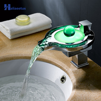 LED Glowing Pearl waterfall Basin Faucet.Single handle Chrome LED Water light Deck Mounted basin sink Mixer Tap for Bathroom.