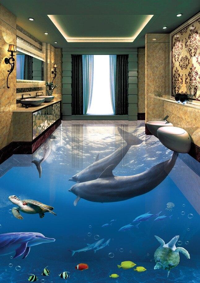 Buy 3 d pvc flooring custom wall sticker for Salle de bain de reve