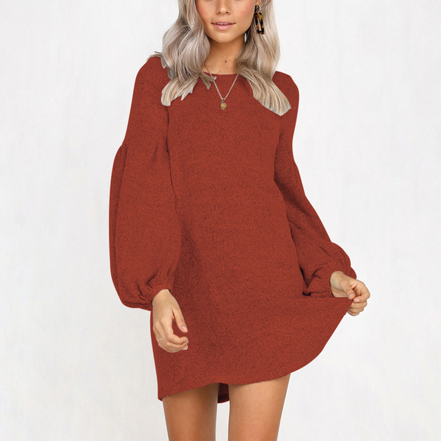 3a08f342fc8 Women Puff Long Sleeve Mini Dress Drees Puff Sleeve Casual O-neck Solid  Cotton Sweater Dress Knitted Korean Sexy Autumn Winter D