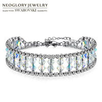 Neoglory MADE WITH SWAROVSKI ELEMENTS Crystal Rhinestone Bracelet For Women Charms Geometric Wedding Shinning Party Bangle
