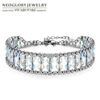 Neoglory MADE WITH SWAROVSKI ELEMENTS Crystal Rhinestone Bracelet For Women Charms Geometric Wedding Shinning Party Bangle