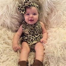 Newborn Baby Clothing Baby Girls 2017 New Summer Leopard Milk Silk Short Cute Bracing Baby Rompers with Hair Bands