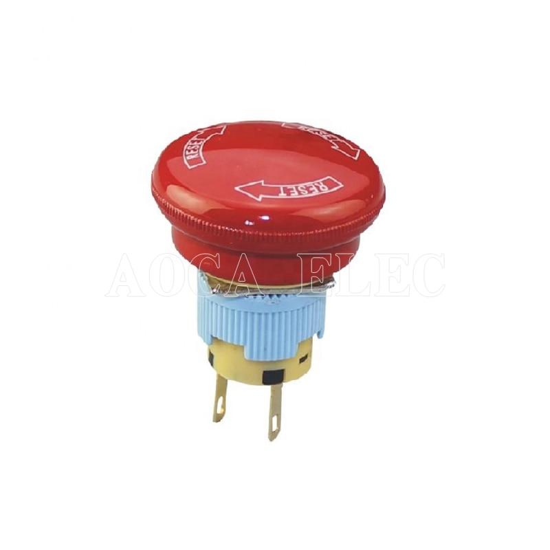 A16 20SR B 16MM Plastic DPST Waterproof Emergency Stop Mushroom Button Emergency Switch Emergency Stop Switch