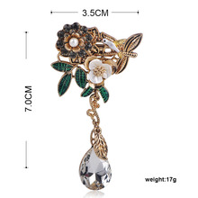 Blucome Retro Palace Style Plant Flower Shape Pendant Brooch Gold Color Jewelry For Women Clothing Hat Banquet Accessories Gifts