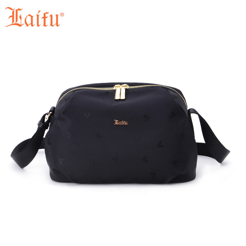 ФОТО Laifu Women Mini Handbag Casual Nylon Bag Waterproof Jacquard Ladies Messenger Bag Teenage Girls Shoulder Bag Black Blue