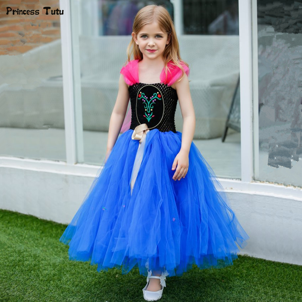 Girls Princess Tutu Dress For Children Christmas Halloween Cosplay Anna Dress Costume Blue Tulle Girl Kids Birthday Party Dress girls catwoman cosplay for kids christmas party performance halloween costume cute kids girls cat kitty princess dress with hair