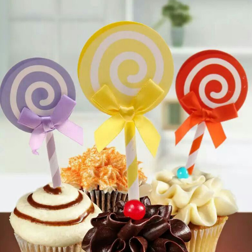 Cute Lollipop Party Cloth Cupcake Toppers Picks Decoration For Kids ...