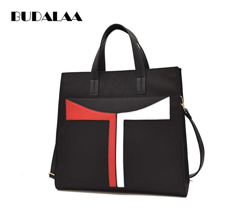Budalaa new fashion T handbags for women shoulder bag flap messenger bags for lady shopping and party summer black large inside 2018 fashion lady handbags women canvas messenger bags shopping bags ladies casual green striped smiling face hand bag party