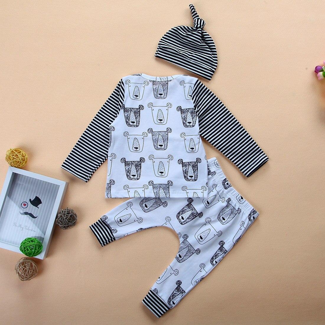 3pcs 2017 New autumn baby girls Boys animal print clothes set Newborn Baby lion long sleeve T shirt Tops+Pants +Hat Outfits Sets