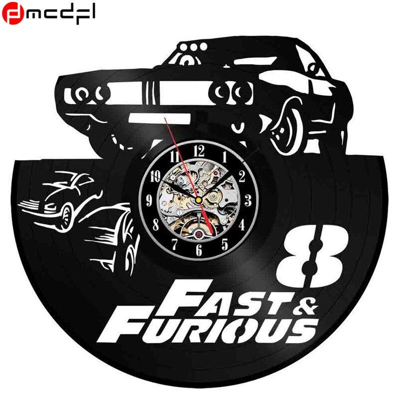 Fast Furious Vinyl Record 3d Handmade Wall Art Clock Quartz Clock