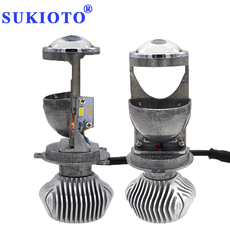 SUKIOTO 35W /70W H4 LED Headlight Projector lens Bulb LHD H4 Hi/Lo H4 bixenon Mini projector bulb 1.5 inch 5500K Car Styling skyjoyce mini led projector lens h4 led headlight bulbs led conversion kit h4 led bulb light lamp hi lo beam headlight lhd h4