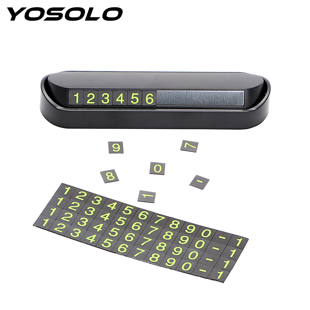 YOSOLO Drawer Style Car Temporary Parking Card Car Styling Luminous Phone Number Parking Plate Rocker Switch Car Accessories puzzle temporary car parking card telephone number card notification sucker plate car styling phone number card accessories