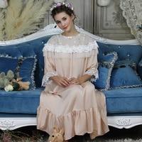 Long Night Gowns Women Sleepwear Ladies Nightgown Elegant Sleepwear Gown Princess L Dress 5 color