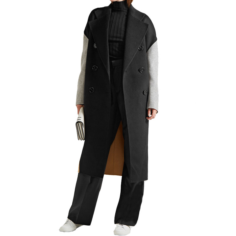 Women   Trench   Coat Autumn Winter Oversize Bouble Breasted Contrast Color Patchwork Female Overcoats Holiday Long Loose Outerwear