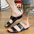 Clássico maré chinelos mens gents moda Britânica slipes barato homem genu flip flops de couro preguiçoso um pedal sandálias tamanho Euro 45 US11