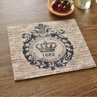 4pcs Set Hot Sale Crown Pattern Linen Napkins Double Cloth Table Placemats For Dinner Tables Home