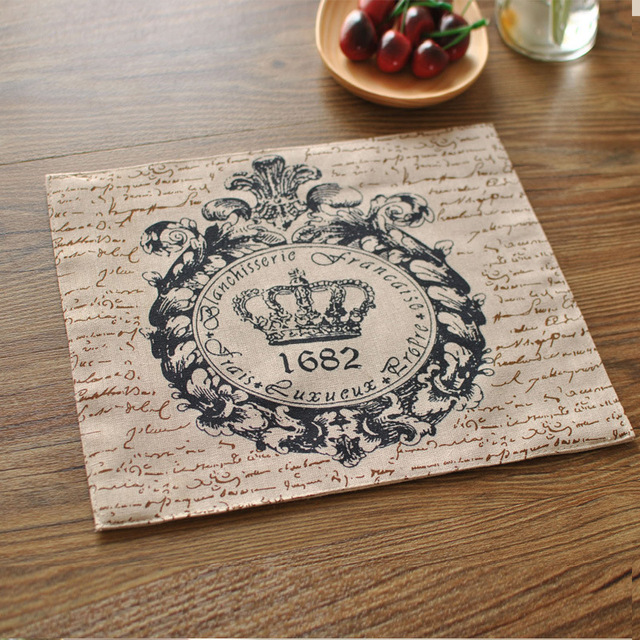 4pcs/set Sale Crown Linen Napkins Cloth Wedding Table Napkin Placemat  Cotton Placemats Dinner Tables