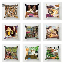 Fuwatacchi Animals Pillow Covers Cute Cats and Dog Cushion Covers for Home Sofa Chair Decor Poppy Kitty Pillowcases New 2019 цены