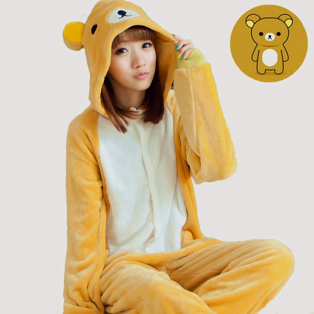 Rilakkuma Relax Bear Cartoon Adult Unisex Winter Animal Cosplay Pajamas Sleepwear Onesies Pajama For Women Men Couples Girls