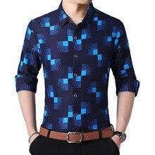 격자 무늬 셔츠 남자 패션 2019 새로운 가을 단추 아래로 긴 소매 캐주얼 사회 셔츠 플러스 크기 4XL 5XL 6XL 7XL