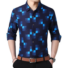 משובץ חולצות גברים אופנה 2019 חדש סתיו כפתור למטה ארוך שרוול מזדמן חברתי חולצה בתוספת גודל 4XL 5XL 6XL 7XL