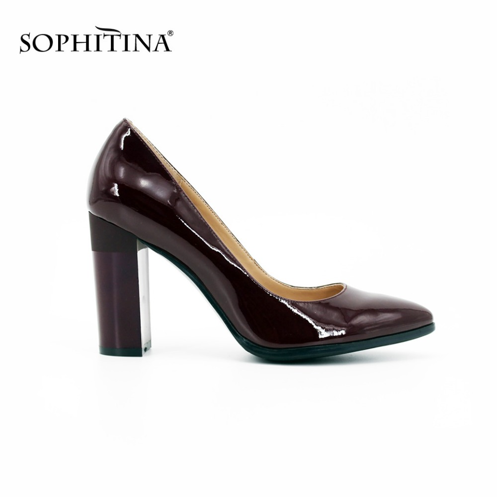 SOPHITINA Genuine Leather Pumps Wine Red patent leather Black sheepskin Pointed Toe Classic High Heels Dress Shoes women D017 dreamshining high quality patent leather wine red women causal pointed toe shoes bow knot ladies flat loafers shoes