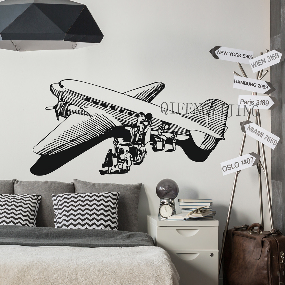 Airplane Wall Stickers wallpaper airplane room decoration 3d wall stickers PVC material decal Airplanes wallpaper mural FL-19