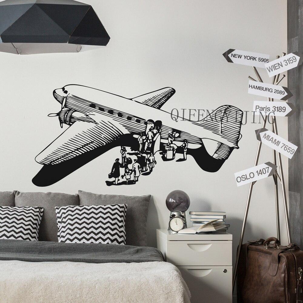Pegatinas de pared de avión empapelado decoración de habitación de avión 3d pegatinas de pared PVC material adhesivo aviones papel pintado mural FL-19