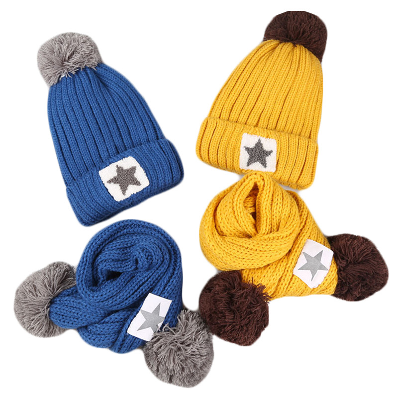 Children Kids Autumn Winter Fashion Star Hat Scarf Set Fur Ball Hat Pom Pom Beanies Baby Boy Girl Warm Plus Velvet Cap Scarf Set zea rtm0911 1 children s panda style super soft autumn winter wear cap scarf set blue