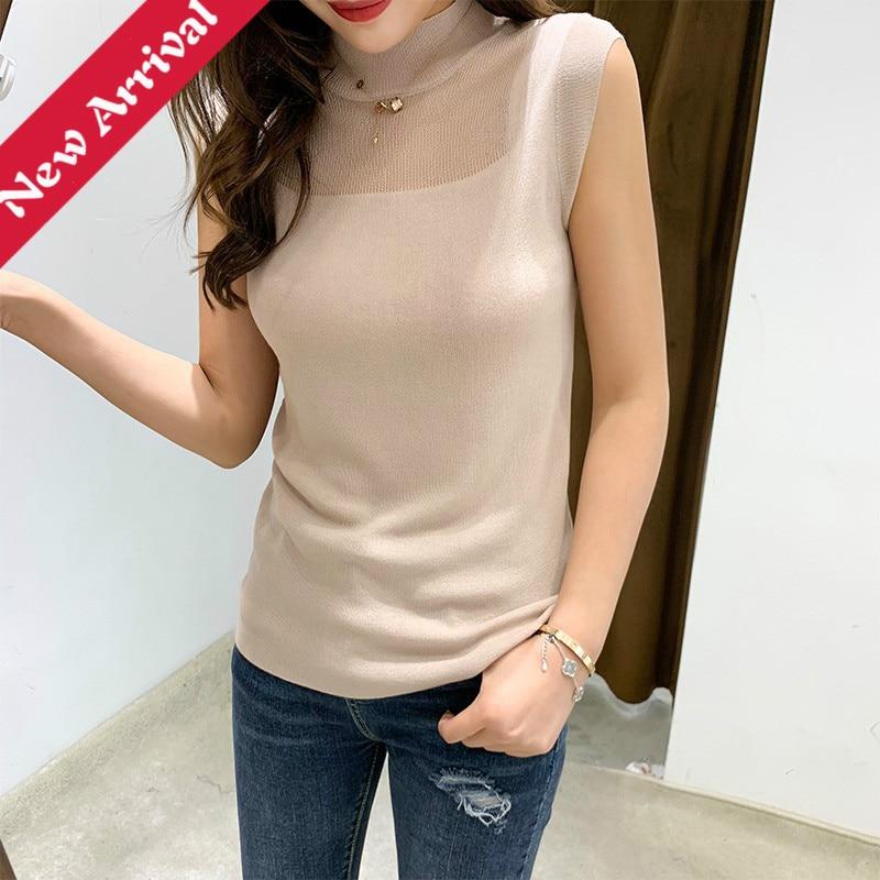 2019 Spring Summer   Tank     Tops   Women Sleeveless Round Neck Singlets Slim T Shirt Ladies Vest   Top   Femme Knitted Thin Vest pink   top