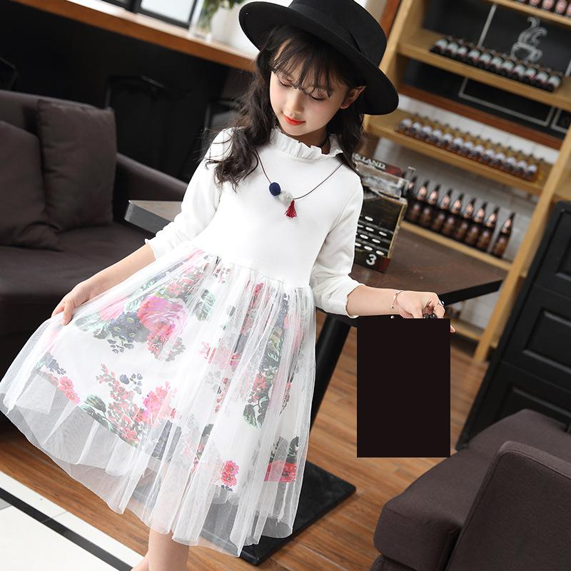 2018 New Flower Tulle Princess Party Girls White Dress Kids Dresses For Girls Spring Dress Girl Clothes Vetement Enfant Fille 14 2018 new style spring kids baby girl clothes 2pcs casual girl outfits sets denim jackets sleeveless dress vetement fille 13 14