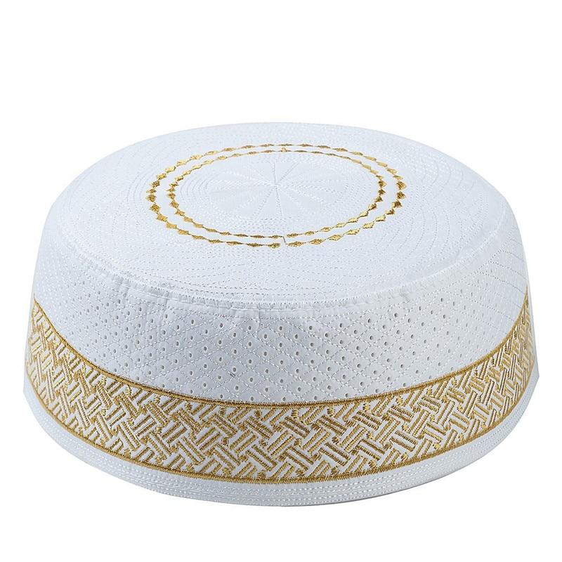 2019 Islamic Men Prayer Hats Cotton Embroidery Arab Clothing Muslim Caps Saudi Arabia Indian Turban Bonnet Musulman Homme Hat