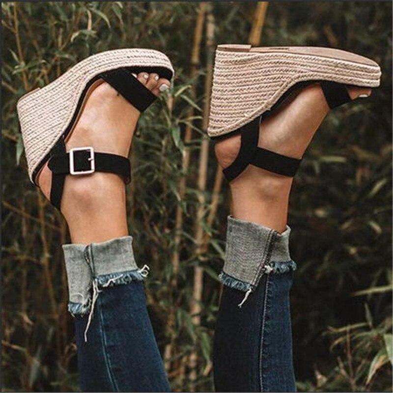 HTB1llWsX3mH3KVjSZKzq6z2OXXa9 Women Shoes Platform Sandals Women Peep Toe High Wedges Heel Ankle Buckles Sandalia Espadrilles Female Sandals Shoes