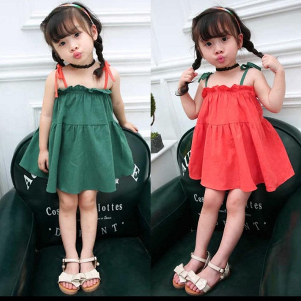 TELOTUNY Dress Cotton Toddler Children Baby Girls Princess Party Wedding Dresses Summer Sleeveless Blend Dress Clothes JAN29